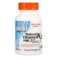 Doctor's Best, Натуральный витамин K2 MK-7 с MenaQ7, 45 мкг, 60 вегетарианских капсул