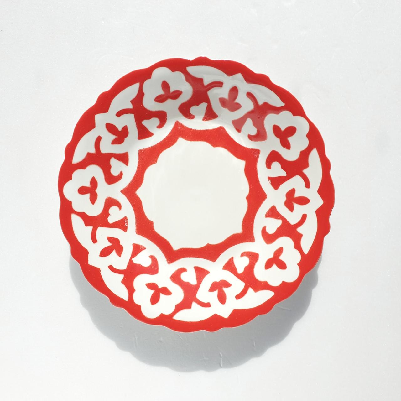 """Тарелка десертная """"ПАХТА"""" красная d 16 см красная. Узбекистан"""