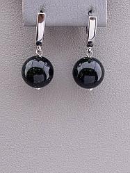 Серьги с английским замком бусины диаметр 12 мм каирская ночь (авантюрин им)  серебро 925 SUNSTONES
