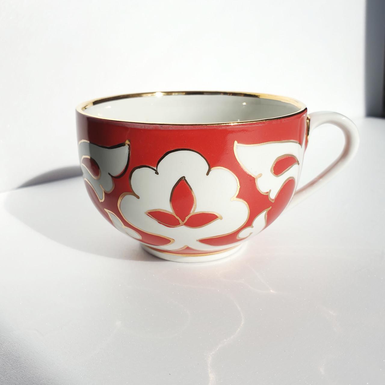 """Чашка """"ПАХТА Золотая"""" 250 мл красная. Узбекистан"""
