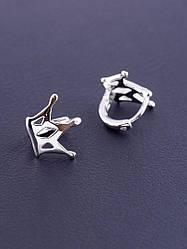 Серьги короны серебряного цвета родиевое покрытие замочек кольцо бренд XUPING