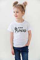 """Детская футболка  для девочки """"Princess"""" в черном, белом, сером цвете"""