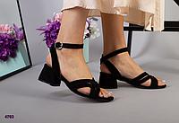 Босоножки черные велюровые на устойчивом каблуке, 36 размер, фото 1