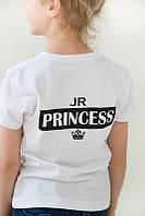 """Детская футболка  для девочки """" JR PRINCESS"""" в черном, белом, сером цвете"""