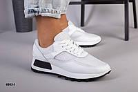 Кросівки білі з натуральної шкіри та сітки, фото 1