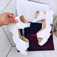 Женские кожаные белые босоножки, фото 1