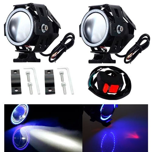 Фары прожекторы для мотоцикла U7 LED 12В 3000лм Angel Eyes синие + кнопка 2005-05697