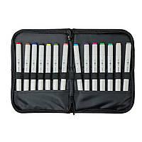 Набор скетч-маркеров для рисования 14 шт. в фирменном пенале-подставке Santi sketchmarker