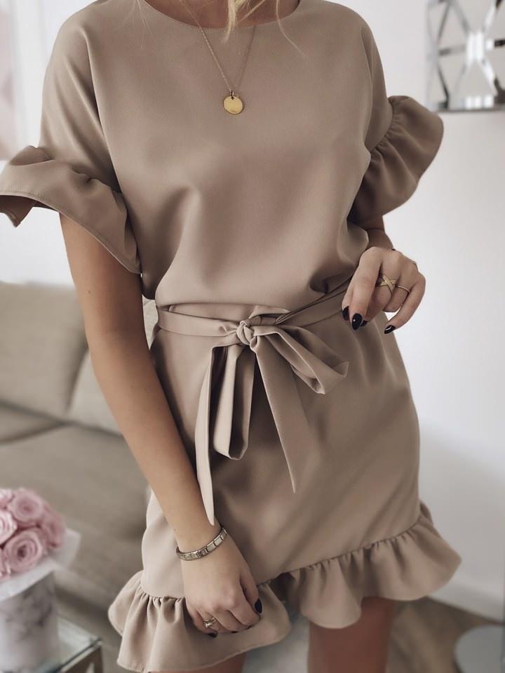 Летнее платье мини романтичное с волами короткие рукава 42-44, Капучино