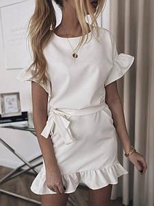 Летнее платье мини романтичное с волами короткие рукава 46-48, Белый