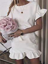 Летнее платье мини романтичное с волами короткие рукава 42-44, Капучино, фото 2
