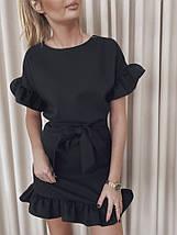 Летнее платье мини романтичное с волами короткие рукава 42-44, Капучино, фото 3