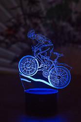 3d-світильник Велосипедист, 3д-нічник, кілька підсвічувань (на батарейці)