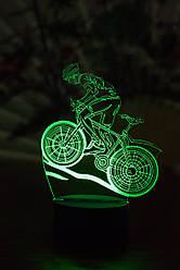 3d-світильник Велосипедист, 3д-нічник, кілька підсвічувань (батарейка+220В)
