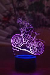 3d-світильник Велосипедист, 3д-нічник, кілька підсвічувань (на пульті)