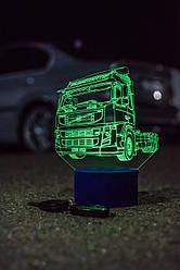 3d-світильник Вантажівка, тягач Вольво, Volvo, 3д-нічник, кілька підсвічувань (на батарейці)