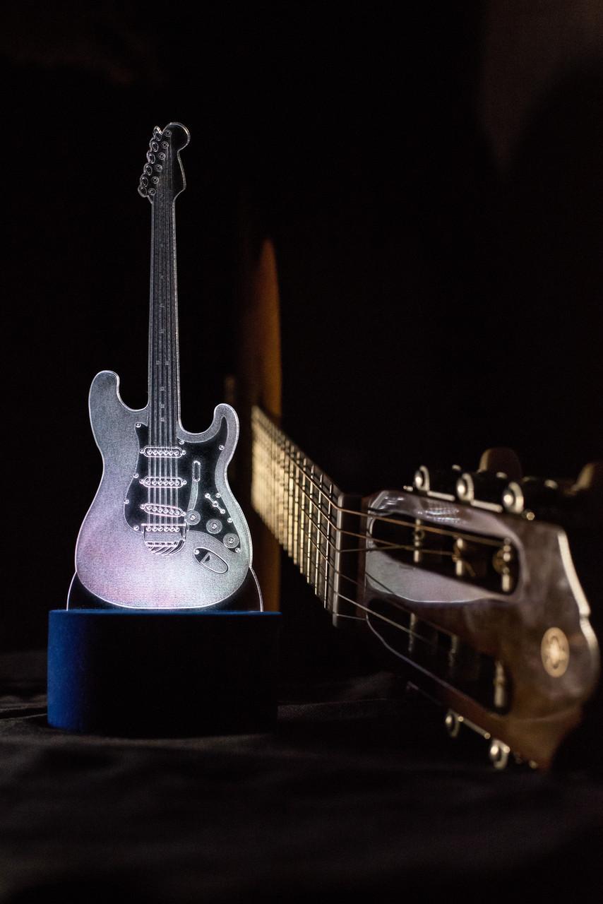 3d-светильник Гитара, 3д-ночник, несколько подсветок (на батарейке), подарок музыканту рок