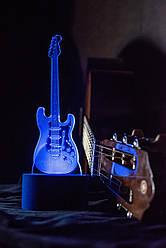 3d-светильник Гитара, 3д-ночник, несколько подсветок (батарейка+220В), подарок рок музыканту гитаристу