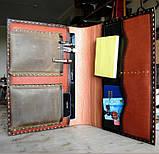 Шкіряна папка органайзер для планшета, смартфона, документів, з пеналом для ручок, щоденника, ручної роботи, фото 4
