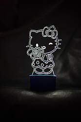 3d-світильник Хелоу Кітті, 3д-нічник, кілька підсвічувань (на батарейці)