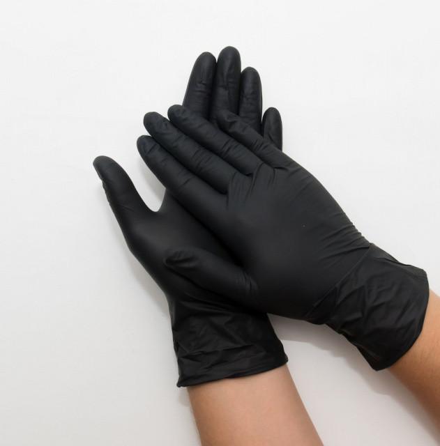 Рукавички нітрилові M (чорні) Safe-Touch Advanced, б/п, текстур. (50 пар/упак)