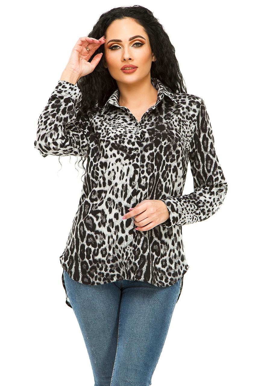 Блузка 294 серый леопард размер 46