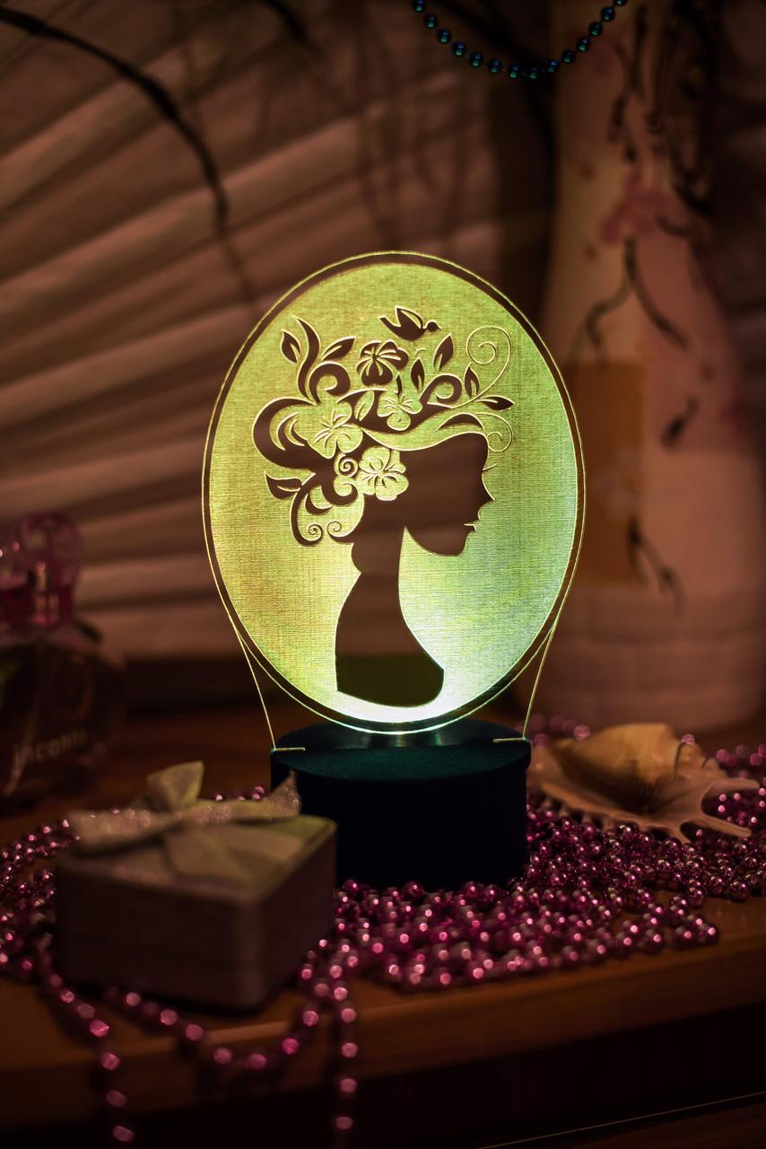 3d-светильник Девушка-весна, 3д-ночник, несколько подсветок (батарейка+220В)