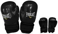 Перчатки боксерские Кожа ELAST MA-4006E-BK (р-р 10-12oz, Чёрный)