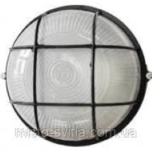 Світильник накладної ІР54 Е27 60Вт скло-метал з гратами чорний коло
