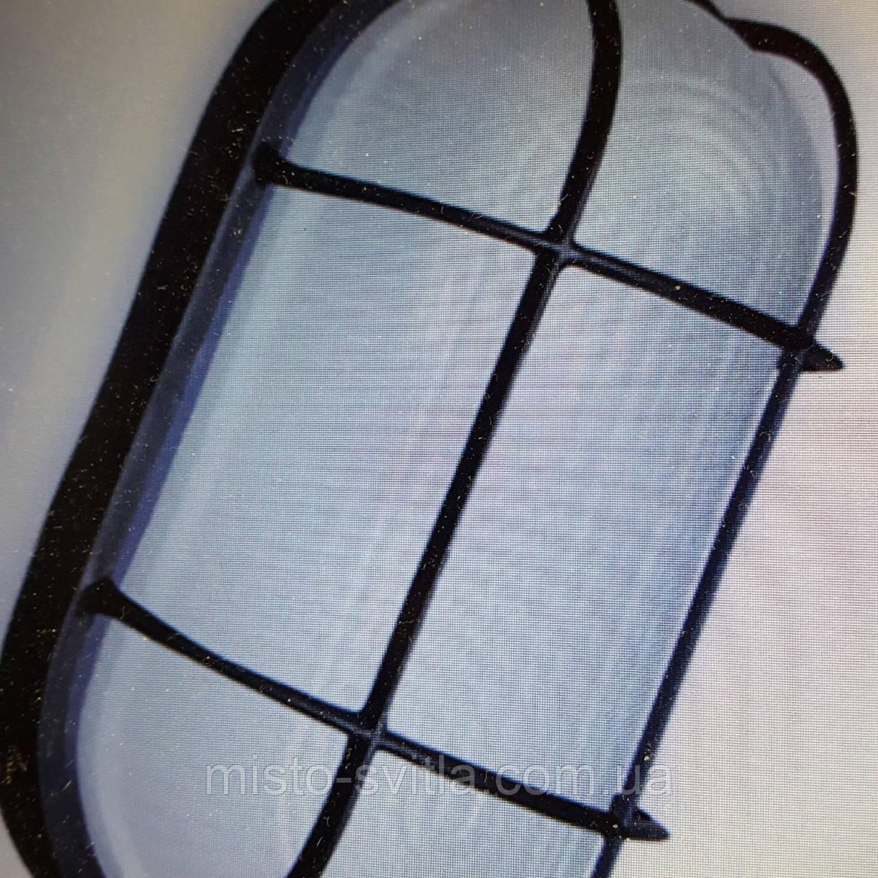 Светильник накладной IP54 Е27 60Вт стекло-метал с решеткой черный овал