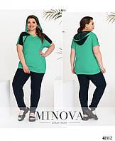Женский летний яркий трикотажный костюм двойка футболка+брюки. Большого размера Р-50-52, 64-56, 58-60