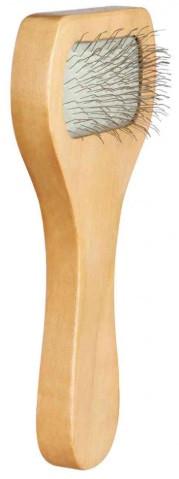Пуходерка для собак и котов одинарная деревяная ручка 6*13 см, trixie