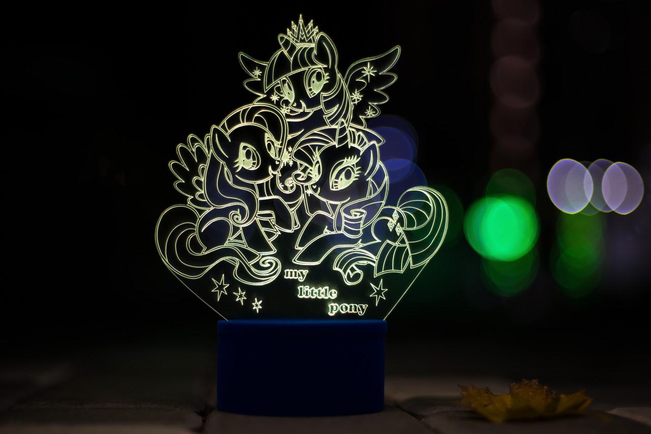 3d-светильник My little pony Май литл пони, 3д-ночник, несколько подсветок (на батарейке)