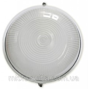Светильник накладной IP54 Е27 60Вт стекло-метал белый круг