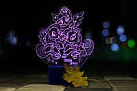 3d-светильник My little pony, Май литл пони, 3д-ночник, несколько подсветок (на пульте)