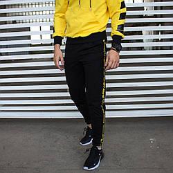 Спортивні штани в стилі Off White чорні з жовтим