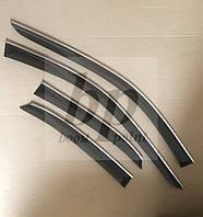 Дефлекторы окон (ветровики) с хром полосой (кантом-молдингом) Audi A4 B5 sedan (ауди а4 б5) 1994-2001 седан
