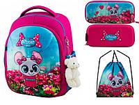 Школьный рюкзак для девочки + брелок игрушка Winner розовый с мышкой + пенал+ сумка для обуви 6010k