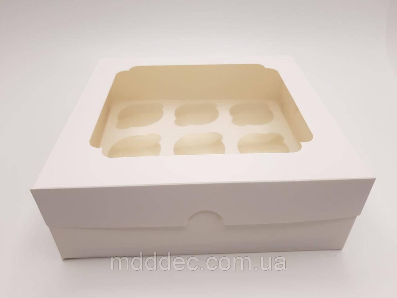 Коробка для кексів 9 шт Біла з вікном
