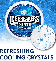 USA Ice Breakers Sugar Free Mints, Coolmint - Мятные Леденцы без сахара из США 42 грамма, Айс Брекерс