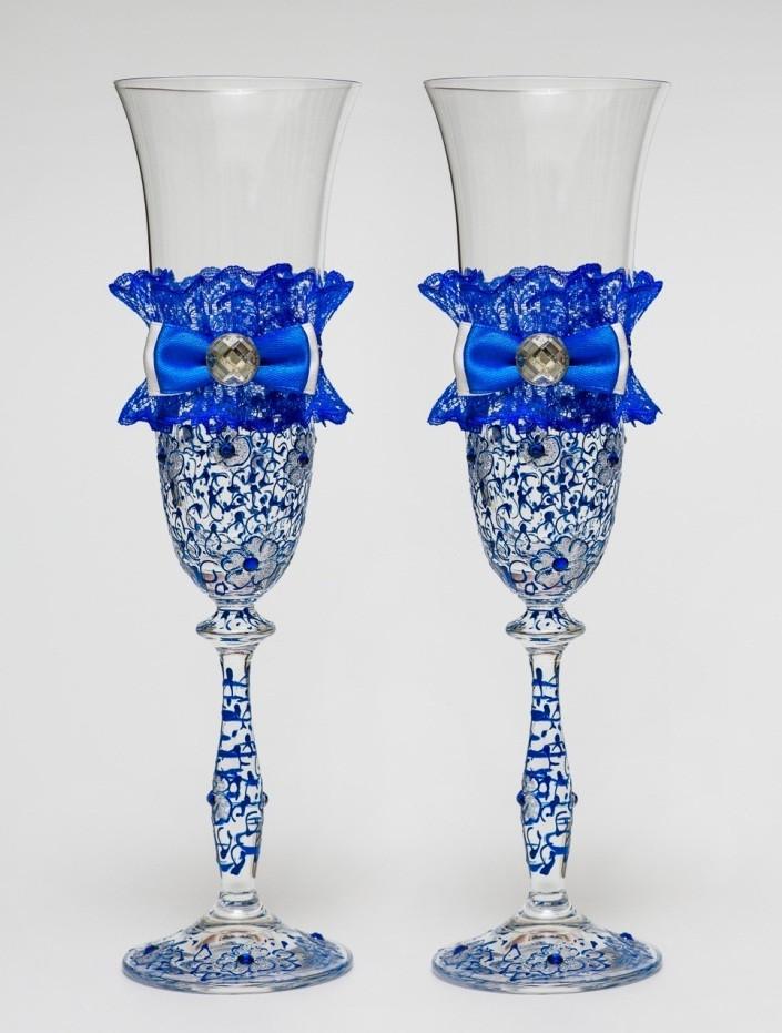 "Свадебные бокалы ""Винтажный шик"" синий, арт. SA-233"