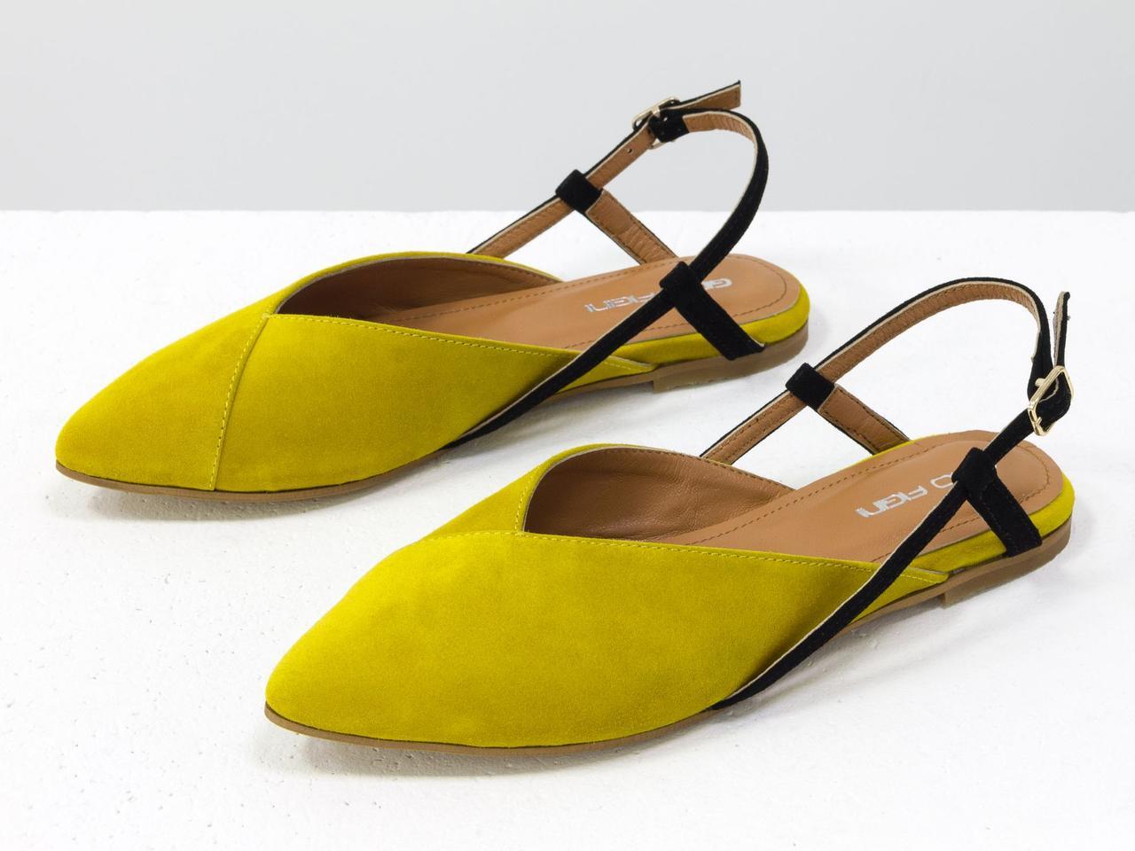 """Балетки з натуральної італійської замші-велюр жовтого кольору з відтінком """"мімоза"""""""