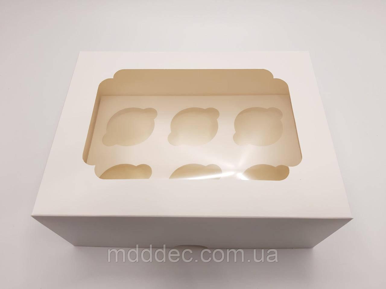Коробка для 6 кексов Белая