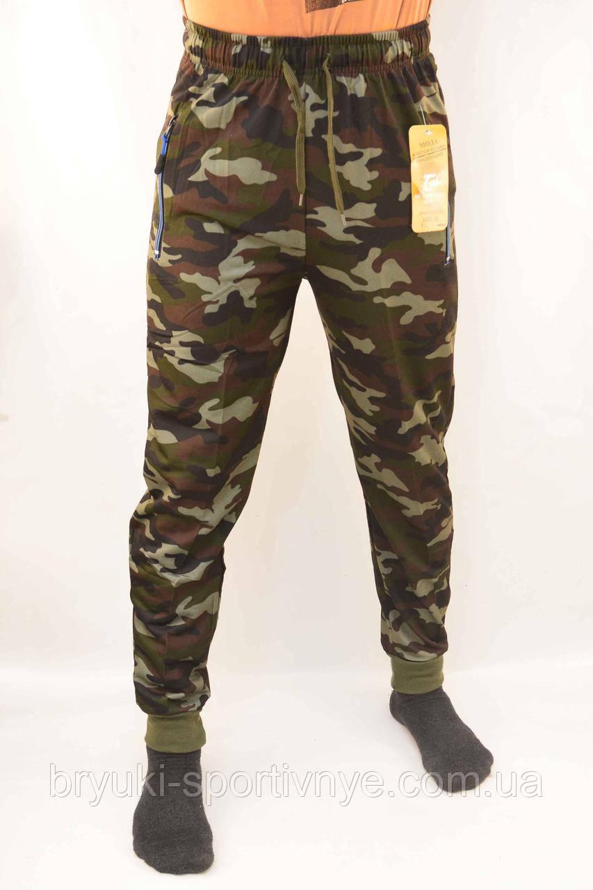 Штаны спортивные мужские камуфляжные под манжет и с молниями на карманах