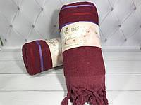 Яркое пляжное полотенце с кисточками, 90х170см Турция 100% Хлопок Цвет Бордо