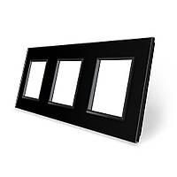 Рамка розетки Livolo 3 поста черный стекло (VL-C7-SR/SR/SR-12), фото 1