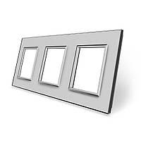 Рамка розетки Livolo 3 поста серый стекло (VL-C7-SR/SR/SR-15), фото 1