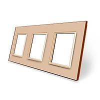 Рамка розетки Livolo 3 поста золото стекло (VL-C7-SR/SR/SR-13), фото 1