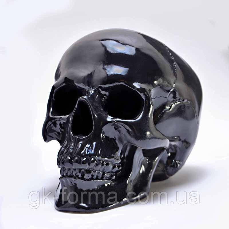 Череп гипсовый черный в натуральную величину.Декоративный череп человека
