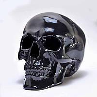 Череп гипсовый черный в натуральную величину.Декоративный череп человека, фото 1